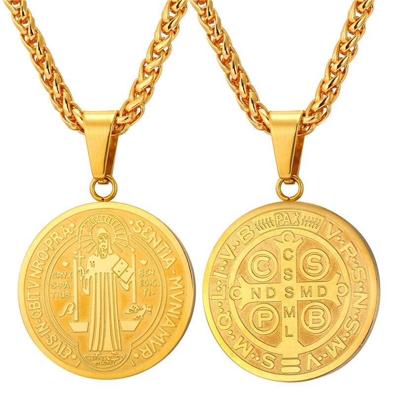 U7 Vintage Saint Benedict Medal font b Necklaces b font font b b font font b