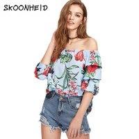 2017 Summer New Fashion Word Shoulder Flower Printed Slash Neck Chiffon Shirt Five Sleeves Patchwork Plaid
