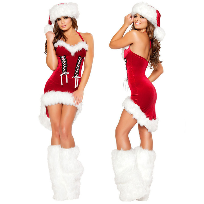 Lady Christmas Costume For Adult Christmas Cosplay Hat Dress Belt Women Christmas Dress Sweet Miss Santa Claus Costume