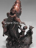 12 Red Bronze Copper Feng Shui Auspicious Boys Child Play Cyprinoid Fish Statue