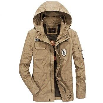 Autumn Military Jacket Men Hooded Detachable Coat Men Many Pockets Windbreaker Mens Jackets Plus Size M-4XL Cotton Outwear Men