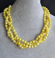 Wholesale Pearl Jewelry , 18 Inches Triple Strands Yellow Genuine Freshwater Pearl Necklace 8 9mm Magnet Clasp Free Shipping
