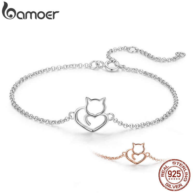 BAMOER 100% 925 Sterling Silver Cat And Heart Link Chain Bracelets & Bangles for Women Authentic Silver Jewelry Gift SCB102