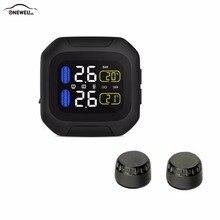 Sistema de supervisión de presión de neumáticos para motocicleta, TPMS inalámbrico, Original, 2 sensores externos, herramientas para Moto