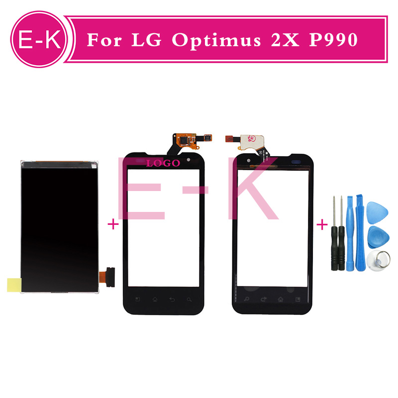 4.0 high quality For LG Optimus 2X P990 Touch Screen Digitizer Sensor Glass + Lcd display Black White +Tools Free shipping
