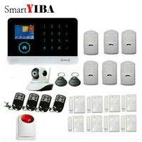 SmartYIBA WIFI Wireless GSM Alarm System Sensor kit Red Strobe Siren Network Camera Monitoring App Control Alarm