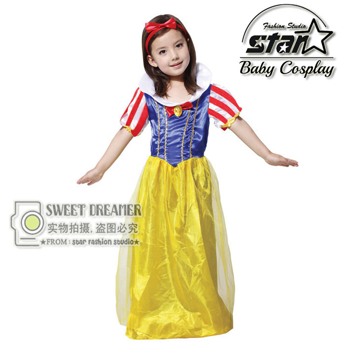 Children Girl Snow White Princess Costumes Halloween Cosplay Cute Kids Performance Dress Girls Chiffon Dress Party Clothing  halloween costumes clown dressed up acting cute nose red