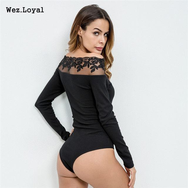 Loyal Ruffled Black Lace Bodysuit Women 2018 Autumn Off Shoulder Sexy  Bodysuits Long Sleeve Skinny Rompers Elegant Bodysuit 9cd8240e4