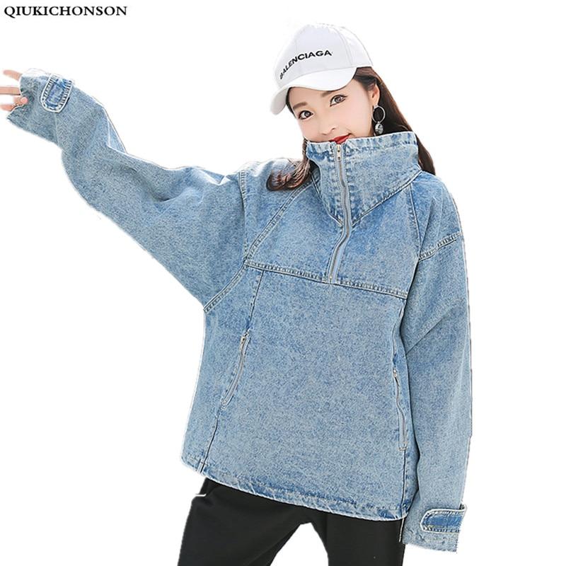 Lace-up turtleneck denim jacket plus size winter coat women 2018 vinage korean sweatshirt zip pocket design jeans pullover