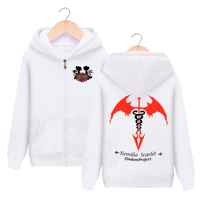 Anime TouHou Project Remilia Scarlet Zipper Hooded Hoodie Cosplay Costume Men Women Jacket Casual Sweatshirt Fashion Streetwear