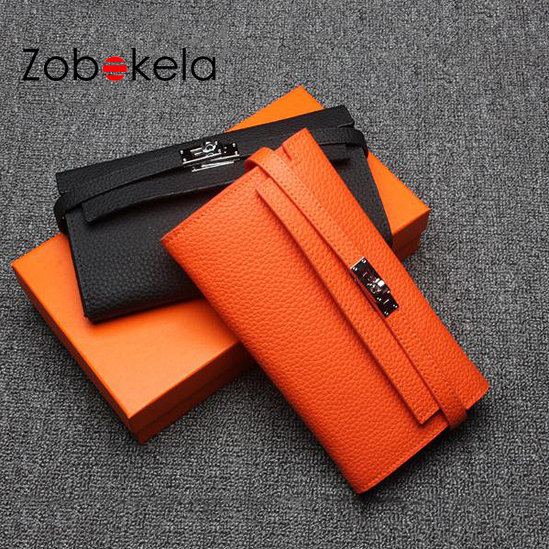 ZOBOKELA Genuine Leather Women Wallet Female Lady long Clutch card holder phone Bag Female coin purse Portomonee For Girls yuanyu 2018 new hot free shipping real python leather women clutch women hand caught bag women bag long snake women day clutches