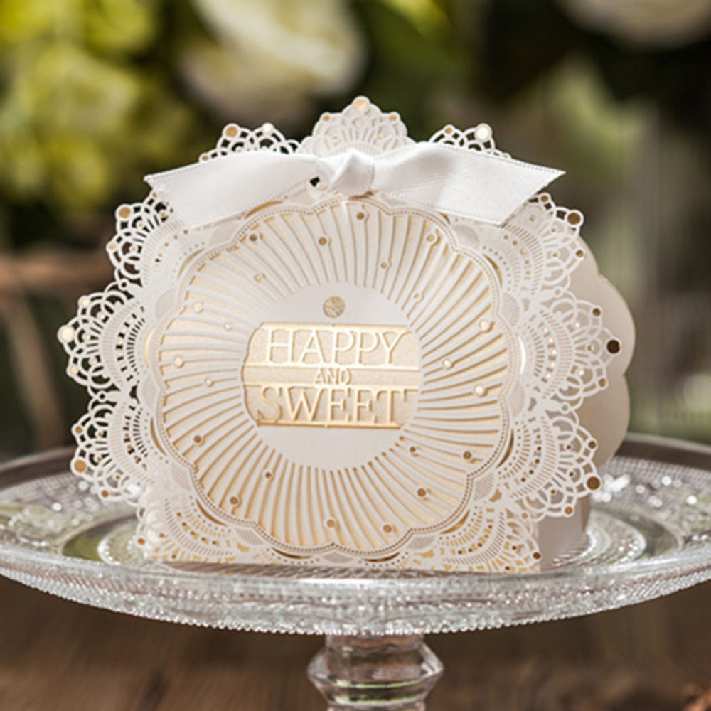 100pcs Ivory Laser Cut Wedding Favor Boxes Wedding Candy Box ...