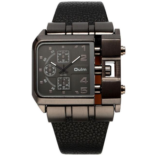 2016 chegada nova designer relógios exército grande forma quadrada pulseira de couro oulm 3364 relógio japão movimento de quartzo homens esportes
