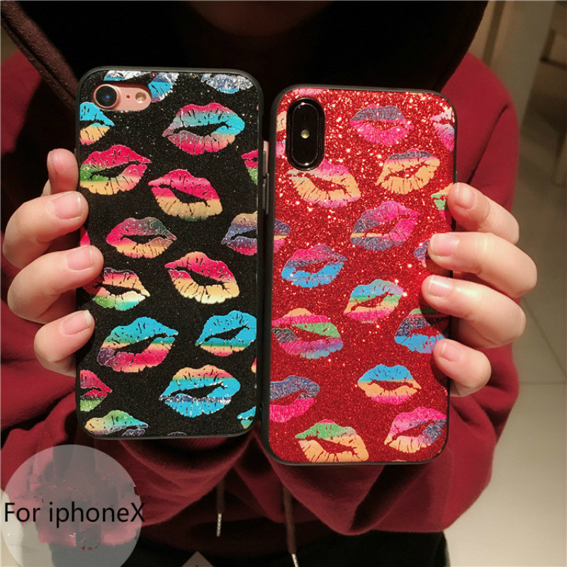 2018 new Graffiti lip patterned TPU phone back cover for iphone7plus silicon soft plain case for iphoneX 6 6s 6plus 8plus cover