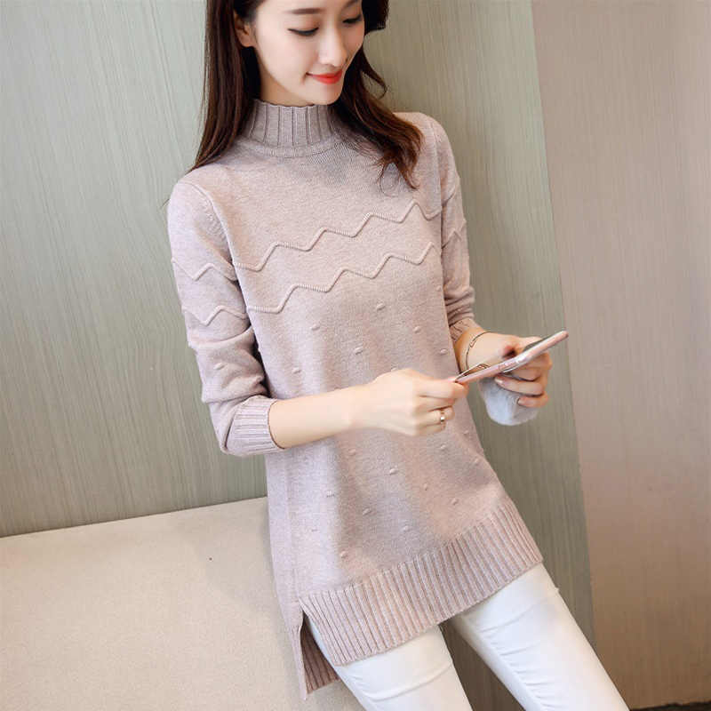Winter Women Sweater Turtleneck Pullover Knitted 2018 New Loose Pullover Sweater Autumn Large Size S-3XL Lady Knitted Tops DT325