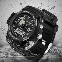 New Arrival SANDA Waterproof Dual Time Digital Sport Multi Function Wrist Watch Wristwatches for Men Boy 2 Years Warrenty OP001