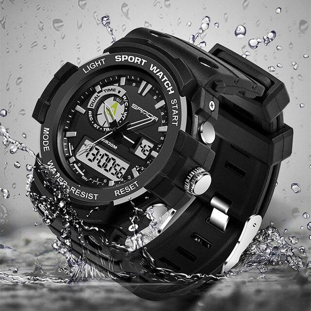 New Arrival SANDA Waterproof Dual Time Digital Sport Multi Function Wrist Watch Wristwatches for Men Boy 2 Years Warrenty OP001