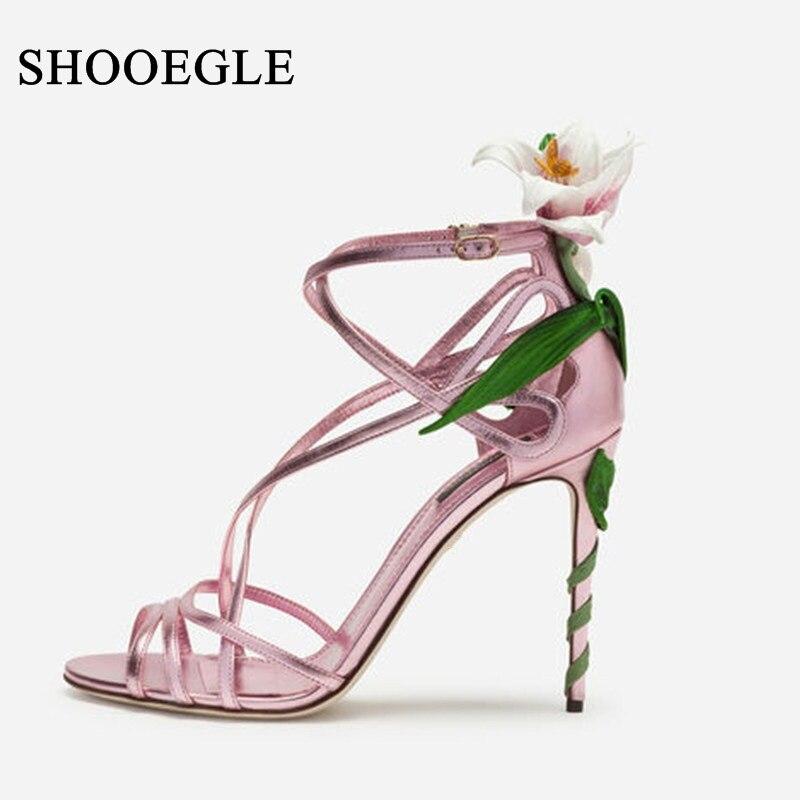 Wykwintne kwiat hafty sandały kobiety Party buty ślubne różowy pasek na kostkę szpilki bandaż sandały pani plamy letnie buty w Wysokie obcasy od Buty na  Grupa 1