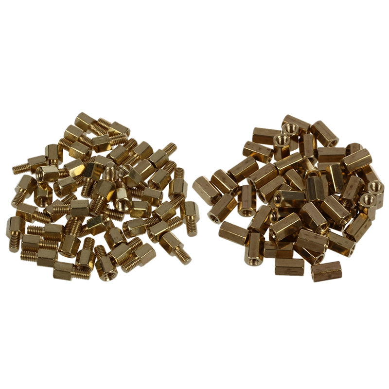 Hot 50 Pcs Brass <font><b>Screw</b></font> PCB Standoffs Hexagonal Spacers <font><b>M3</b></font> Male x <font><b>M3</b></font> Female <font><b>5mm</b></font> & 50 Pcs Metal Hex <font><b>M3</b></font> Female <font><b>Screw</b></font> PCB Standoff image