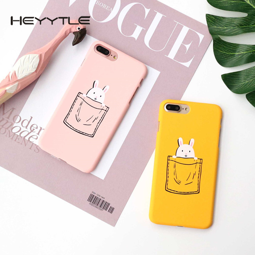 Heyytle Cute Pocket Rabbit Case For Apple iPhone X 8 7 6S 6 Plus Frosted Patterned Back Capa Cute Shell Hard PC Cover Cases