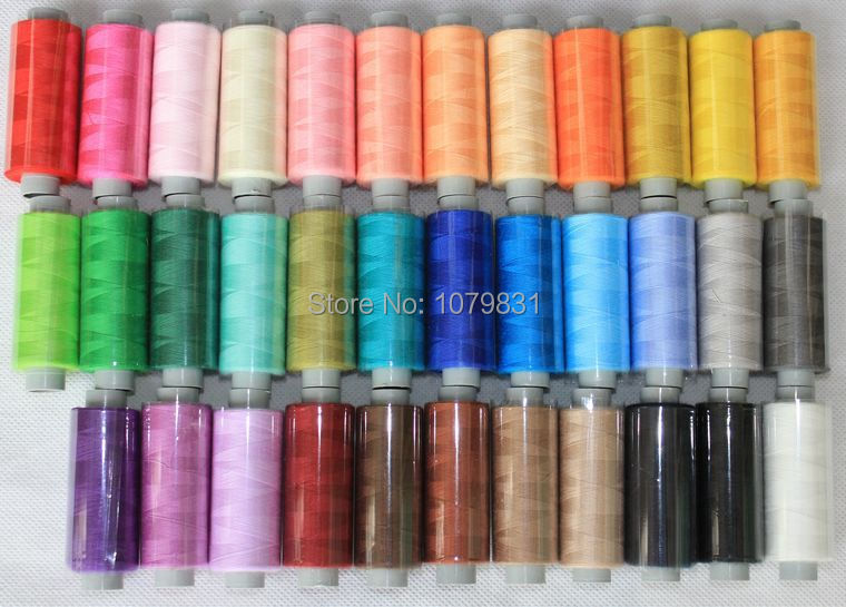 free shipping polyester hand / machine sewing thread 60s/2 kit in 36 different colors, 400 yards for silk fabric overlocking