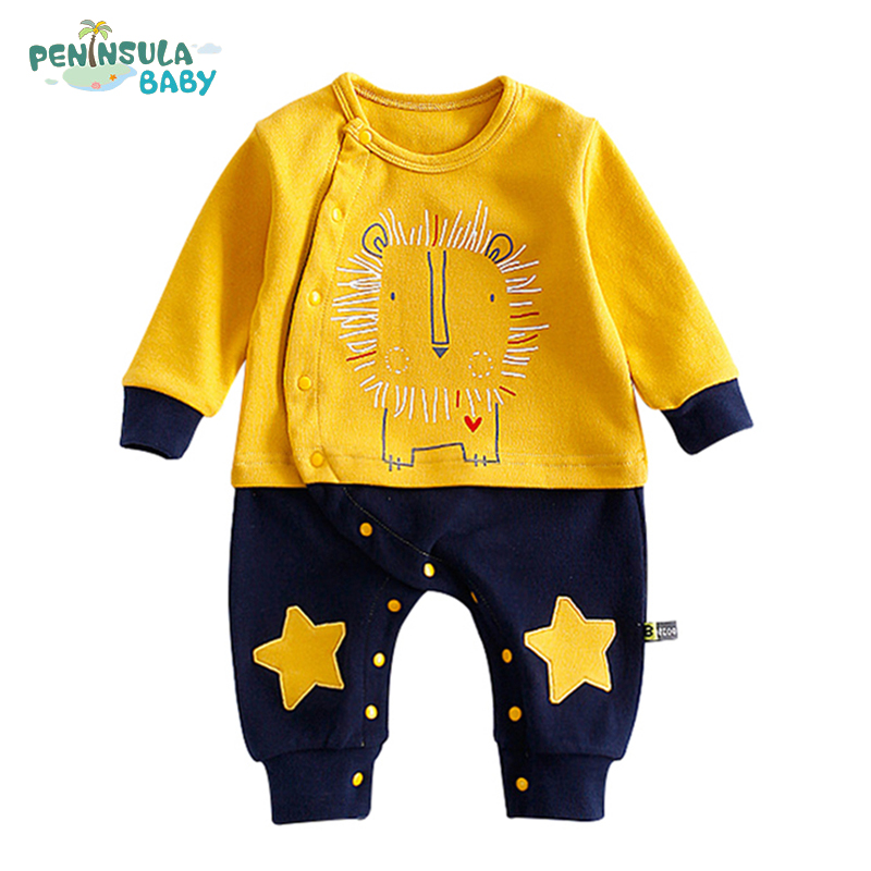 Baby Boy Girl Clothes Cartoon Lion Cotton Funny With Five Pointed Star Autumn Jumpsuit Long Sleeve Newborn Rompers Baby Suit cartoon fox baby rompers pajamas newborn baby clothes infant cotton long sleeve jumpsuits boy girl warm autumn clothes wear