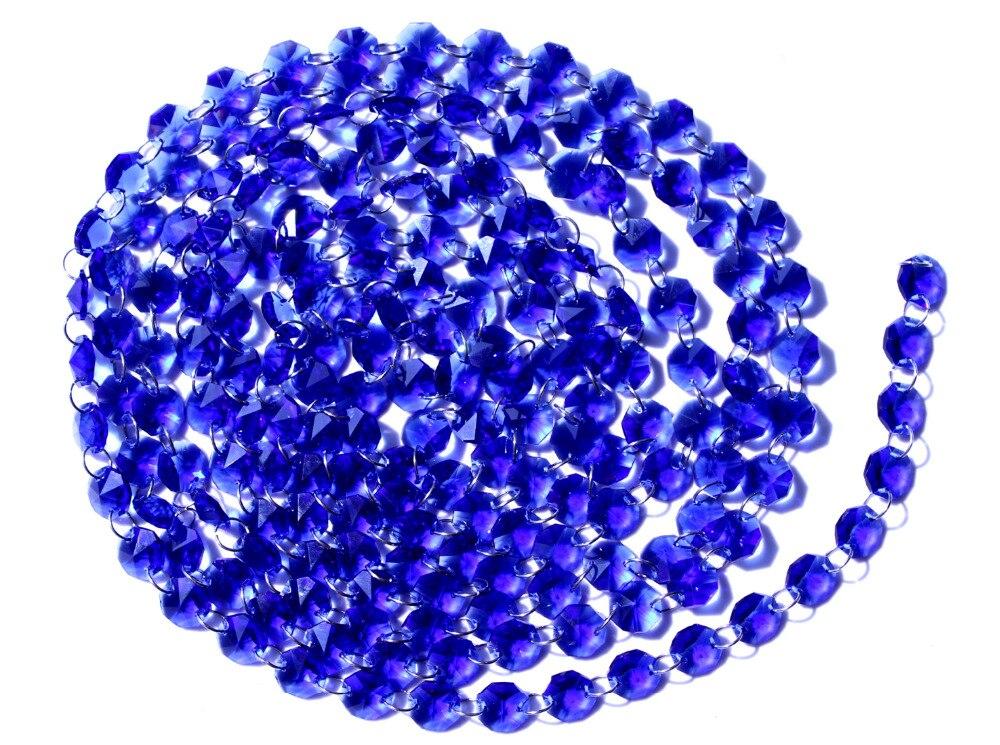 Garland Chakra Spectra 12 nohou diamantové hranoly modré skleněné křišťálové osmiúhelníkové korálky 14mm svatební lustrové díly M02160-4