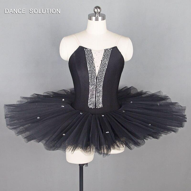 Black Pre Professional Ballet Dance Costume Pancake Tutu for Adult Ballerina Costume Rehearsal Ballet Tutus BLL004