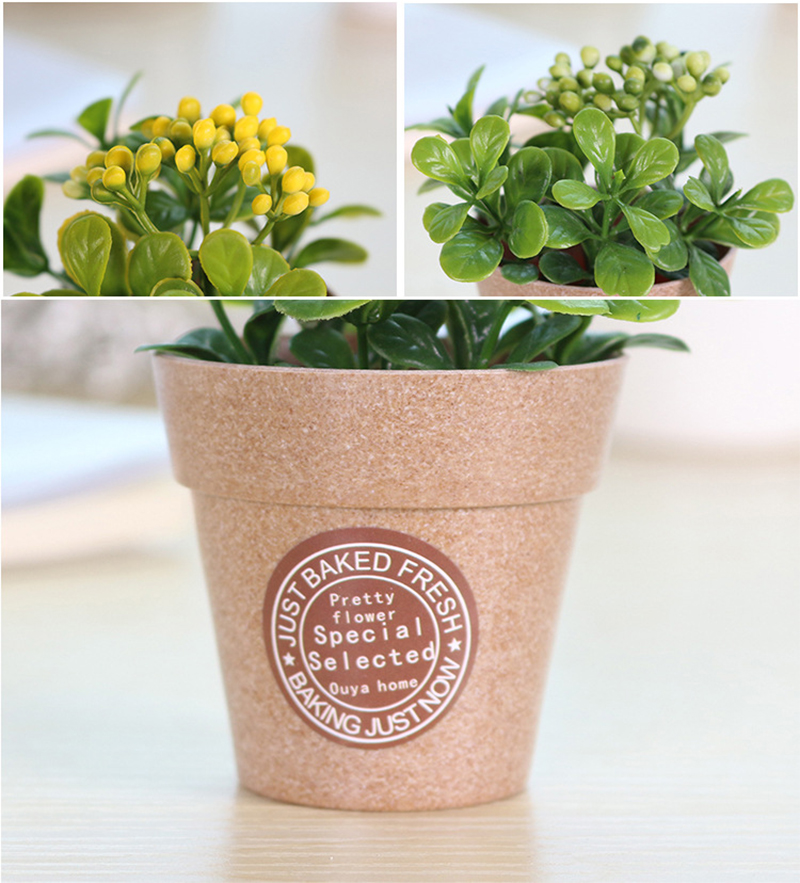 Artificial Plants Potted Simulation Flowers Decorated Flocking Flower Office  Bedroom Desk Decoration With Flower Pots