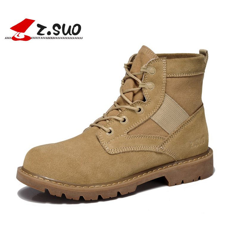 ФОТО Z. Suo Leather suede women boots Suede Ankle Boot Fashion Short Martin boots Shoes winter shoes woman botas mujer ZS158