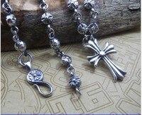 Tay gümüş kolye S925 Gümüş Kolye ile retro erkek yıldız Haçlı çiçek kolye