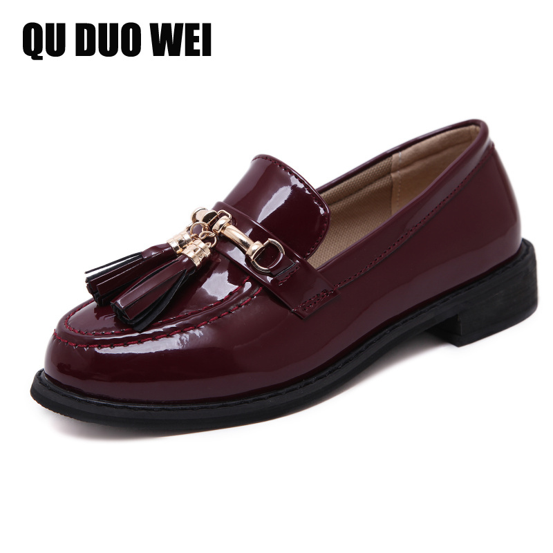 High Quality Women Oxfords Flats Platform Shoes Patent Leather Tassel Slip-On Creepers Black Brogue Women Loafers bling patent leather oxfords 2017 wedges gold silver platform shoes woman casual creepers pink high heels high quality hds59