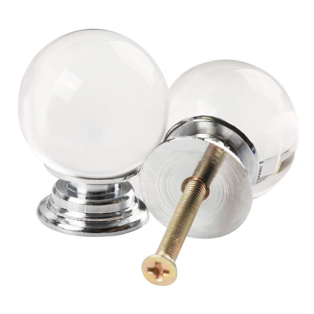 8Pcs Diameter 30mm Clear Round Ball Crystal Glass Cabinet Knob Cupboard Drawer Pull Handle Cabinet Knobs With 3 Kinds Of Screws 30pcs furniture fittings k9 clear crystal glass cabinet drawer knobs door handle diameter 30mm