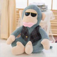 lovely plush monkey toy big monkey doll with glasses gift