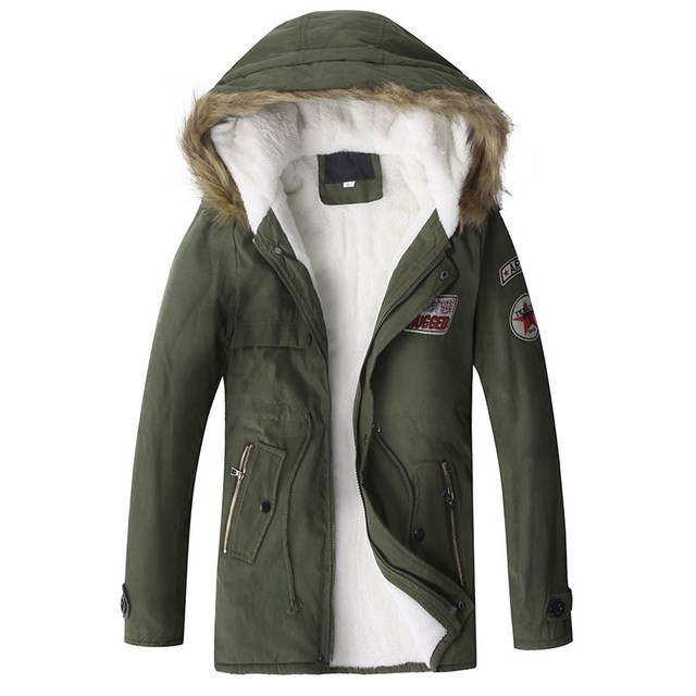 Men s Casual Military Parkas With Faux Fur Hooded Fleece Padded Winter Warm Jacket  Men Fashion Plus fecfce3dbbd