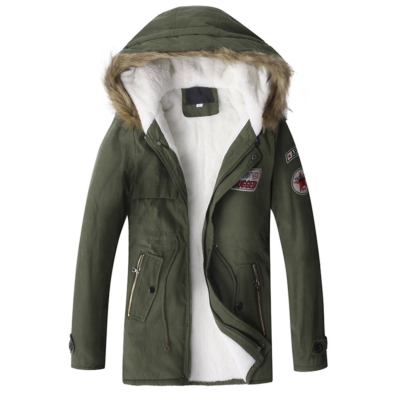 Men's Casual Military Parkas With Faux Fur Hooded Fleece Padded Winter Warm Jacket Men Fashion Plus Size Overcoat Army Green 4XL