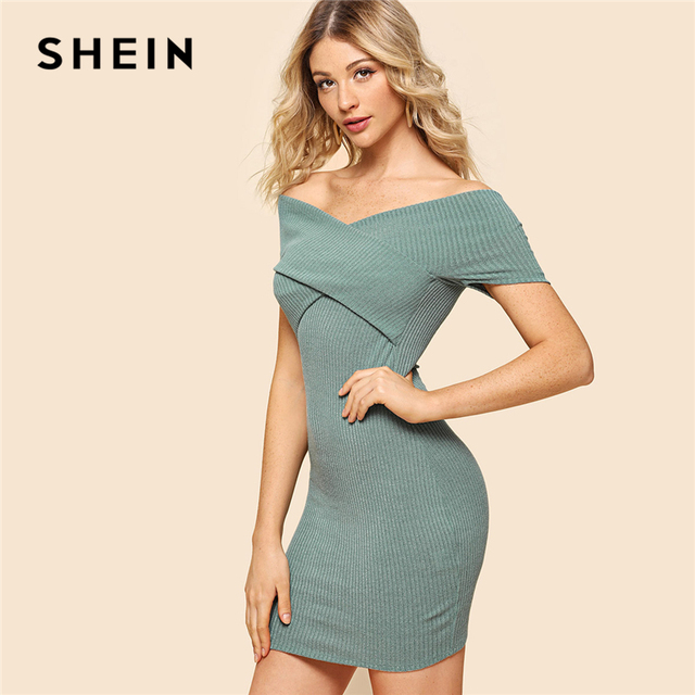 43ee61150b SHEIN Green Elegant Sexy Cross Wrap Rib Knit Off the Shoulder Short Sleeve  Natural Waist Dress