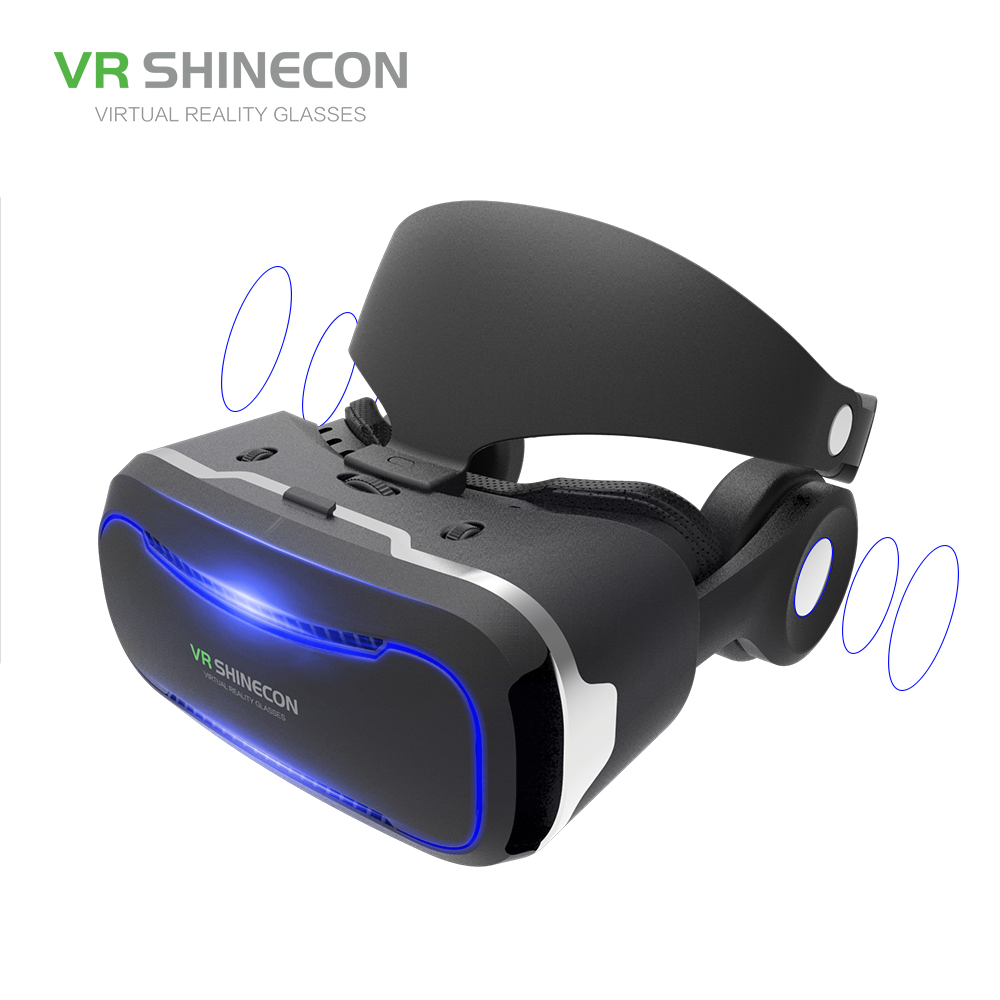 VR SHINECON VR Glasses With Headphones 3D Virtual Reality Glasses Headset Pro Cardboard Helmet BOX For 4.7-6 inch Smart Phone vr glasses 3d glasses vr headset box virtual joystick for phone virtual reality glasses for iphone google cardboard galaxy s9