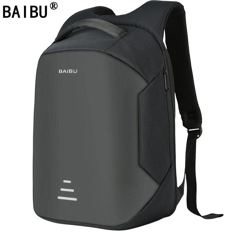 BAIBU nuevos hombres 15,6 mochila portátil Anti-robo mochila carga Usb mujeres escuela Oxford mochila de viaje impermeable