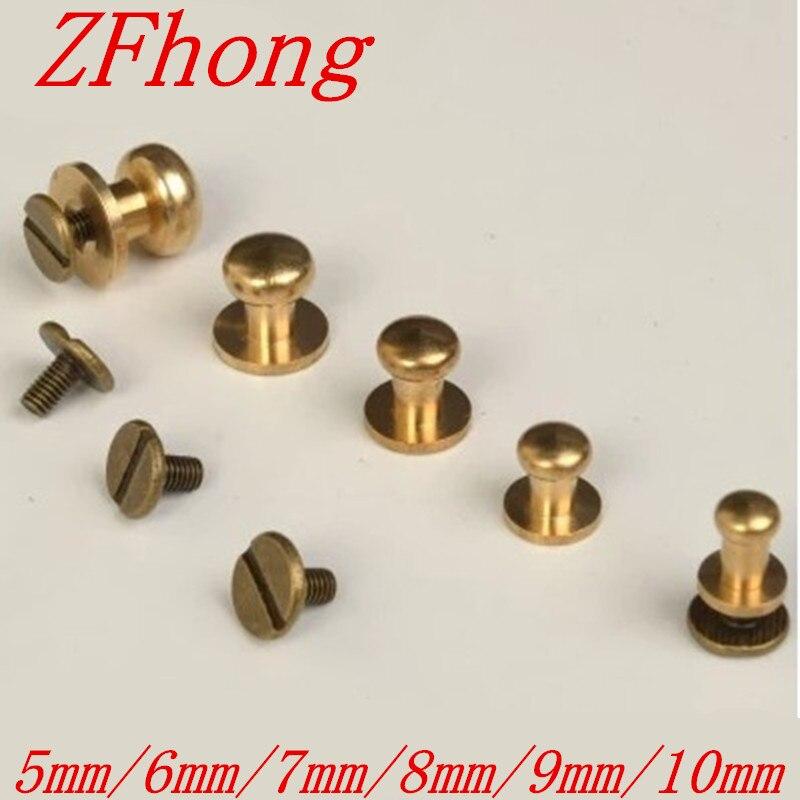 10PCS/Lot 5mm 6mm 7mm 8mm 9mm10mm  Decorative Buttons Pure BrRound Head Button Chiass/Pure Belt Screw Rivet cago Screw 20pcs m3 6 m3 x 6mm aluminum anodized hex socket button head screw