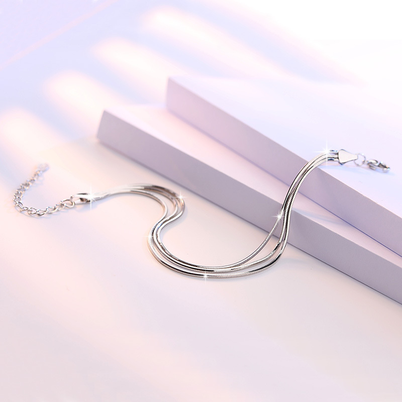 100 925 sterling silver high quality snake chain ladies bracelets women jewelry female bracelet Christmas gift wholesale in Chain Link Bracelets from Jewelry Accessories