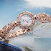 Lady Women's Watch Japan Quartz Fashion Luxury Jewelry Hours Mother of Pearl Dress Bracelet Brass Rhinestone Girl Gift Box