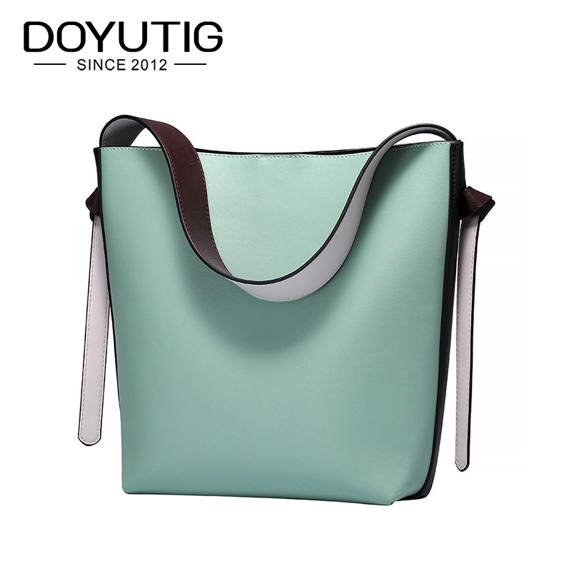 DOYUTIG European Design Women's Big Bucket Genuine Leather Cowhide Handbags Lady Genuine Leather Large Capacity Big Totes F656