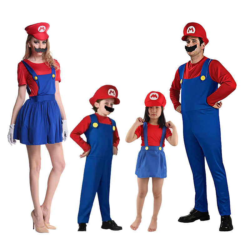Halloween Costumes Funny Super Mario Luigi Brother Costume Kids Boys Girls  Fantasia Game Jumpsuit Family Party Clothing Gift 90