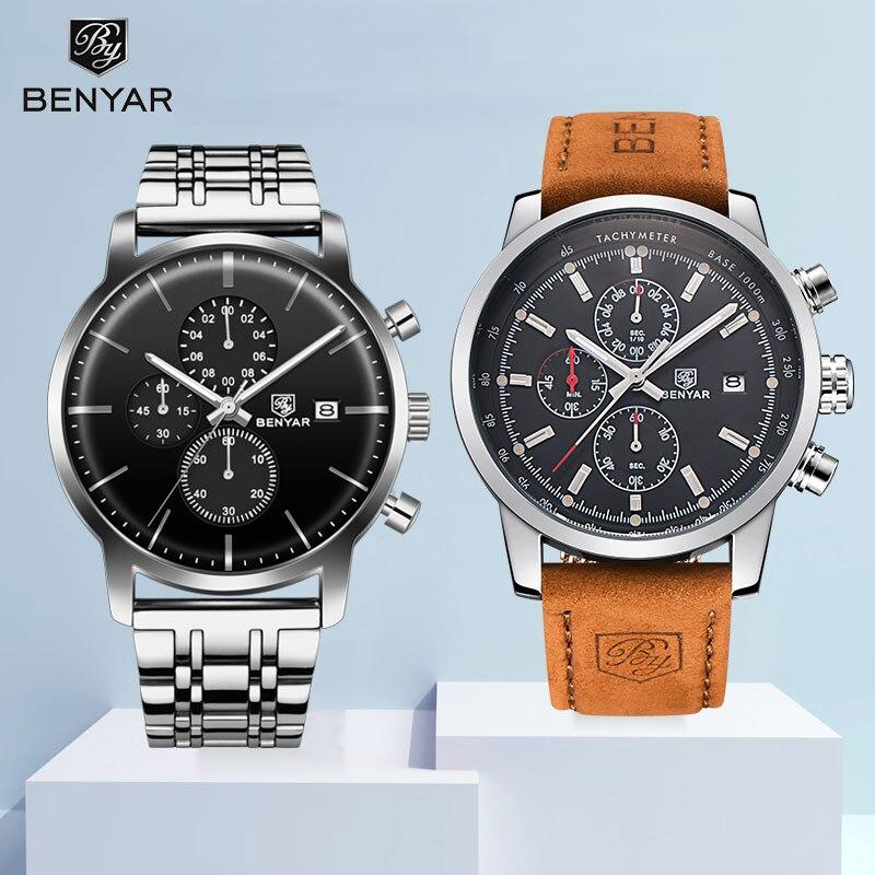 2019 Horloges BENYAR Horloge Heren Set Quartz Chronograaf Grote Wijzerplaat Top Merk Fashion Lederen Mannelijke Horloges Klok Reloj Hombre-in Quartz Horloges van Horloges op  Groep 1