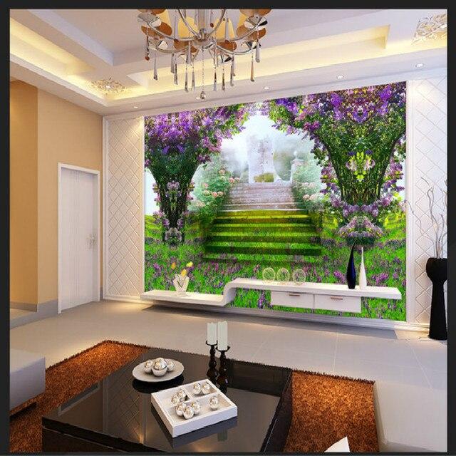 Unreal grüne gras blumen design große mural tapete wohnzimmer ...