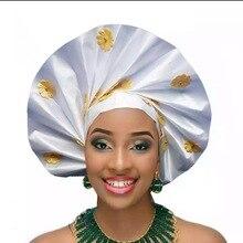 Последняя конструкция сплошной цвет повязка на голову в африканском стиле с цветочной аппликацией, головной убор, Sego Gele& Ipele, головной убор P367 белый