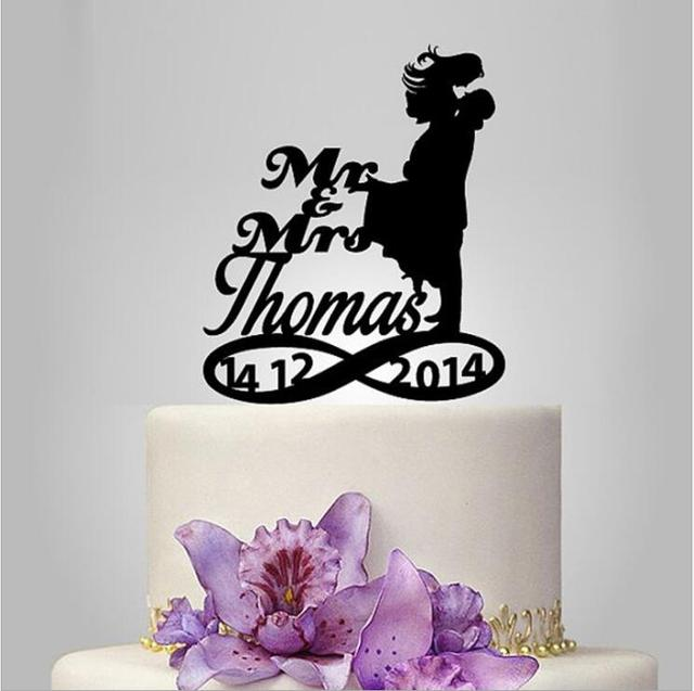 Aliexpress Buy Bride And Groom Silhouette Wedding Cake Topper