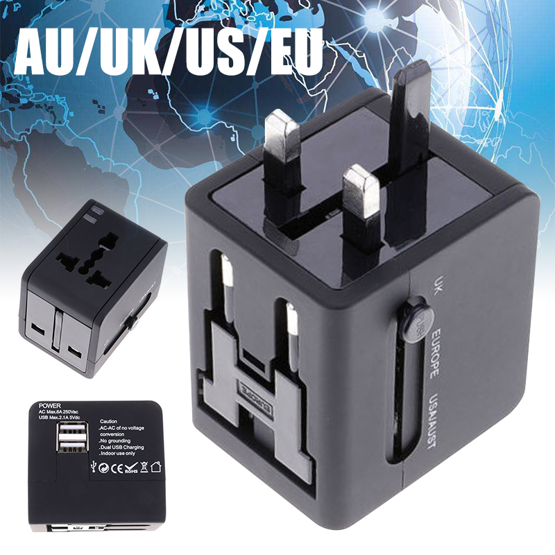 Mayitr 1pc Universal Travel AC Power Adapter All In One Wall Charger Converter Dual USB 2.1A 5V for UK/US/EU/AU