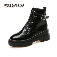 SWYIVY Woman Marint Boots Wedge 2018 Autumn New Glossy Genuine Leather Handsome Female Casual Shoes High Top Ankle Belt Boots